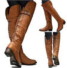 New Womens SRh15 Tan Studded Riding Over Knee High Boots Sz 5.5 to 11