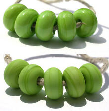 5 PEA GREEN * donut handmade lampwork glass spacer beads TANERES sra