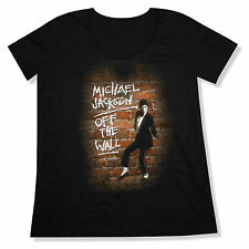 """MICHAEL JACKSON """"OFF THE WALL"""" BLACK SCOOPNECK LADIES PLUS T-SHIRT NEW OFFICIAL"""