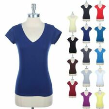 Girl's Plain Cotton Basic Deep V Neck Short Sleeve Tee Shirt Casual Top S M L