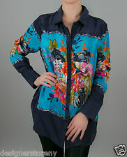 Tolani Allie Printed Blouse Shirt Top in Navy