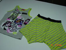 NWT Girls Monster High 2 piece set Tank Skort Green Gray Striped Summer Cute
