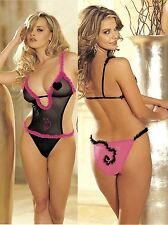 Black or Pink Mesh Sexy Teddy Studded Kitty Detail One Size HOT by Shirley 96020