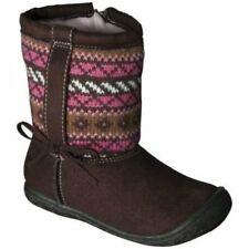NWT Boots  Brown Pink Faux Fur Lining Toddler 5 6 7 8