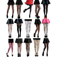 PAMELA MANN DESIGNER PRINTED FASHION TIGHTS - Ladies Sexy Funky Mock Suspenders
