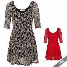 Womens Ladies Vintage Lace Scoop Neck 3/4 Sleeve Sexy Skater Mini Dress Party