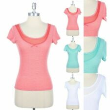 Burn Out Polka Dot Front Mesh Detail Short Sleeve Top Casual Easy Wear S M L