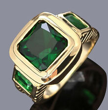 Size 8,9,10,11 Jewelry New Man's Green Emerald 10KT Yellow Gold Filled Ring Gift