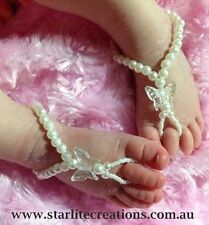 BABY  Barefoot Sandals IVORY BUTTERFLY Beach bridal Christening  Naming Day Girl