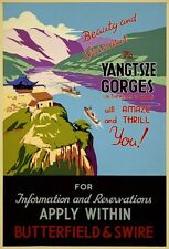 TA24 Vintage China Chinese Yangtsze Gorges Travel Poster Re-Print - A1/A2/A3/A4