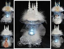 LIGHTED Bridal Wedding Cake Topper Quince Castle LIGHT