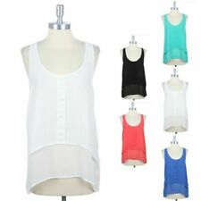 High Low Hem Double Chiffon Layered Front Sleeveless Tank TOP BLOUSE SHIRT S M L