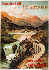 TX94 Vintage Engadine Swiss Alps French Railway Travel Poster Re-Print A2/A3/A4