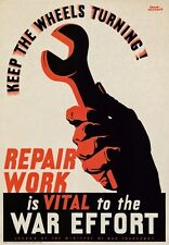 3W3 Vintage WWII British Industry Repair Work War Effort Poster WW2 A2/A3/A4