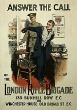W96 Vintage WWI British London Rifle Brigade Recruitment Poster WW1 A1/A2/A3/A4