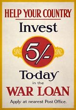 WA47 Vintage WWI British War Loan Investment Poster Print WW1 A1/A2/A3/A4