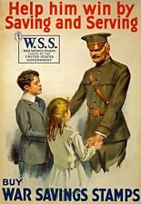 WA84 Vintage WWI United States War Savings Stamps Poster WW1 A1/A2/A3/A4