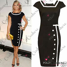 Womens Black Cocktail Smart Evening Formal Ladies Bodycon Shift Pencil Tea Dress