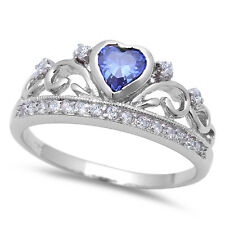 Tanzanite Heart & Cz Crown .925 Sterling Silver Ring Sizes 5-10