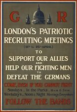 WA125 Vintage WW1 British London Recruitment Meeting War Poster WWI A1/A2/A3/A4