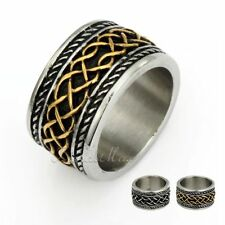 Engraved Irish Celtic Knot Band Ring Mens Black Silver 316L Stainless Steel Ring