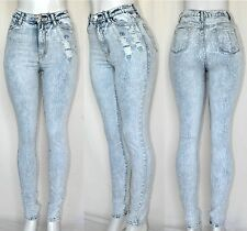 New High Waist Rise Acid Mineral Wash Skinny DISTRESSED Jean Pants 11h