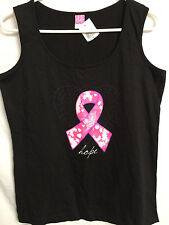 Breast Cancer Awareness Tank Top Pink Ribbon Hope Butterfly Heart Medium Large