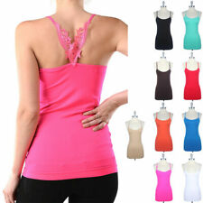 Seamless Embroidery Detail Back Camisole Spaghetti Strap Tank Top Span ONE SIZE