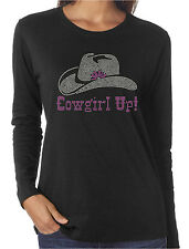 Cowgirl Up Rhinestone Women's Long Sleeve T-Shirts Country Western Rodeo