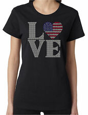 Love Flag Heart Rhinestone Women's SS T-Shirts Patriotic American 4th of July