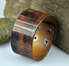 S316 Cool Mens Vintage 2-Tone Genuine Leather Bracelet Wristband Wide Cuff Brown