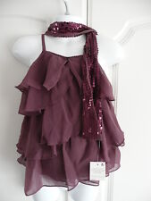 New NEXT Plum Tiered Party Top & Sequin Scarf Set 3 4