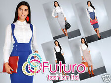 ♥ High Waist Elegant & Trendy Skirt with Buttons ♥ Braces Sizes UK 8-18 ♥ FA37