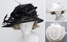 Neatly Weave Style Flower Sinamay Fashion Summer Derby Feather Church Hat