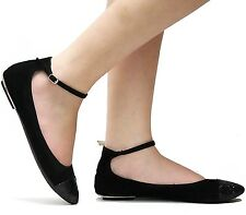 New Womens BL51 Black Ankle Strap Mary Jane Ballet Flats sz 6 to 10