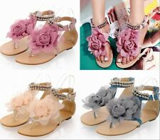 Womens' Girls Big Flower Flip Flops Low Heels Shoes Beads Ankle Straps Plus Size