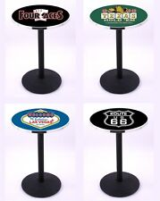 "Choose Gambling Poker Theme 36-42"" L214 Black Round Base Pub Table - 28/36"" Top"