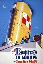 TX311 Vintage 1950's Empress To Europe Cruise Ship Travel Poster A1/A2/A3/A4