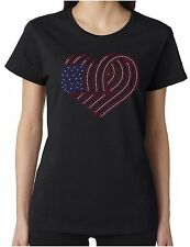 American Flag Heart Swirl Rhinestone Women's SS T-Shirts Patriotic 4th of July