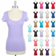 Basic Scoop Neck Short Sleeve Plain T Shirt Solid Top Cotton Span Casual S M L