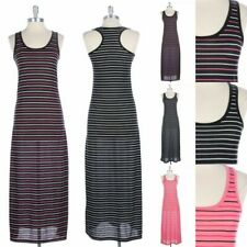 Two Color Stripes All Over Tank Maxi Dress Sleeveless Full Length Long S M L