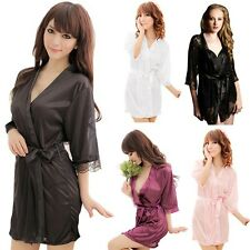 Women Sexy Satin Lace Intimate Lingerie Sleepwear Nightwear Negligee Gowns Robes