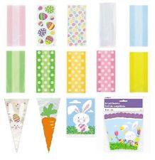 EASTER CELLO PARTY BAGS 20, 30 QTY CELLOPHANE, CHICKS, DOTS, EASTER EGG HUNT