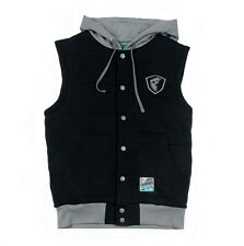 Famous Stars and Straps Shield Varsity Vest Hoodie Black  clothing mens street