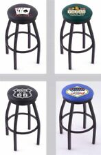 Choose Gambling Poker L8B2B Black Single-Ring Swivel Bar Stool w/ Accent Ring