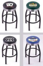 Choose Gambling Poker L8B3C Black Single-Ring Swivel Bar Stool w/ Chrome Ribbed