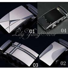 Men Business Automatic Buckles Bow Zinc Alloy Leather Waist Strap Western Silver