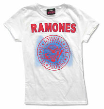 RAMONES - STITCH NAME WITH SEAL LOGO GIRLS JUNIORS WHITE T SHIRT NEW OFFICIAL