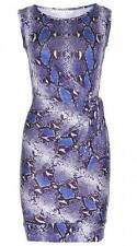 DVF Diane Von Furstenberg NEW DELLA Silk Jersey Side Tie Dress Python Blue Iris