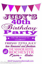 Personalised 18th 21st 30th 40th 50th 60th Birthday Party Invitations ANY COLOUR